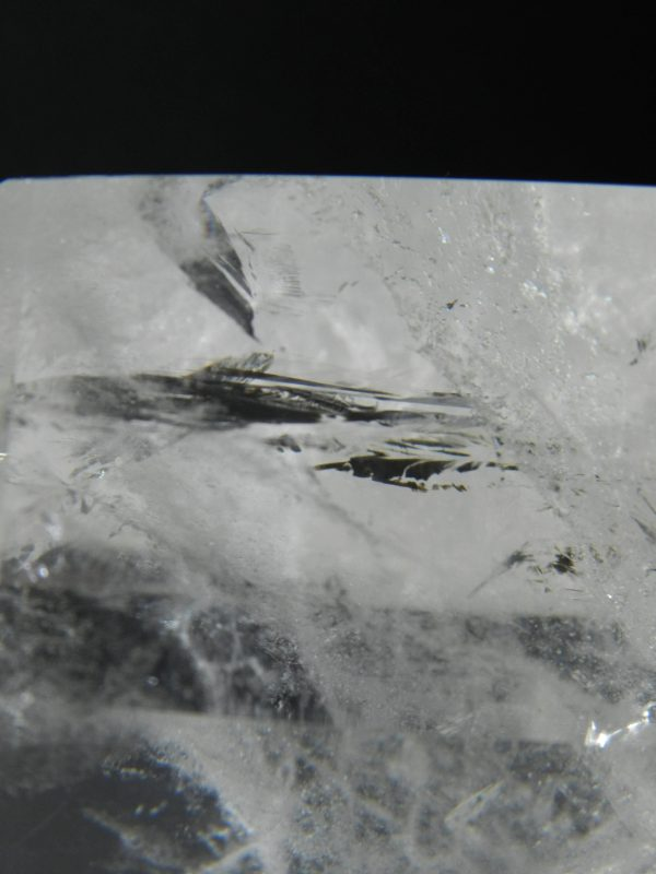 Close up detail and facets of a Quartz crystal