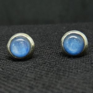 Close up image of front of Blue Kyanite earrings