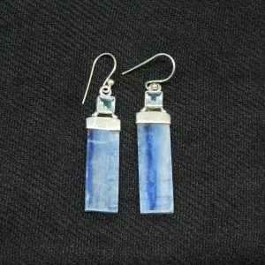 Close up image of Topaz w. Kyanite earrings
