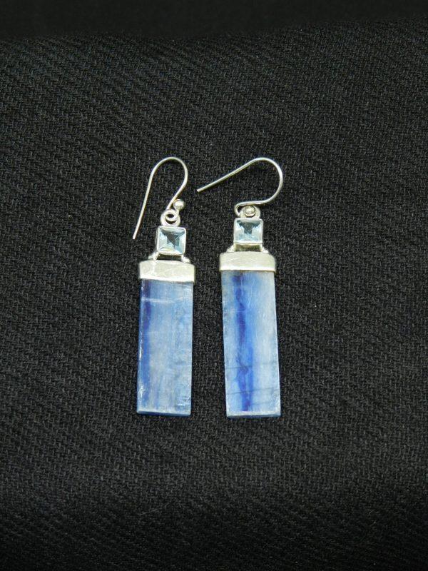 Close up image of Topaz w. Kyanite earrings