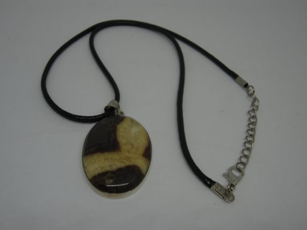 Septarian pendant with chain