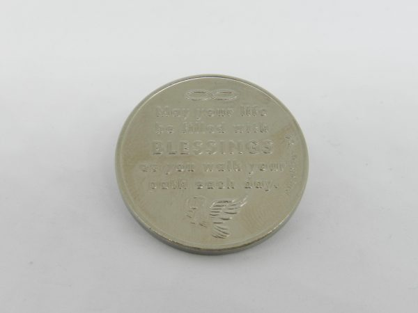 "Angel Blessing coin inscription ""May your life be filled with blessings as you walk your path each day"""