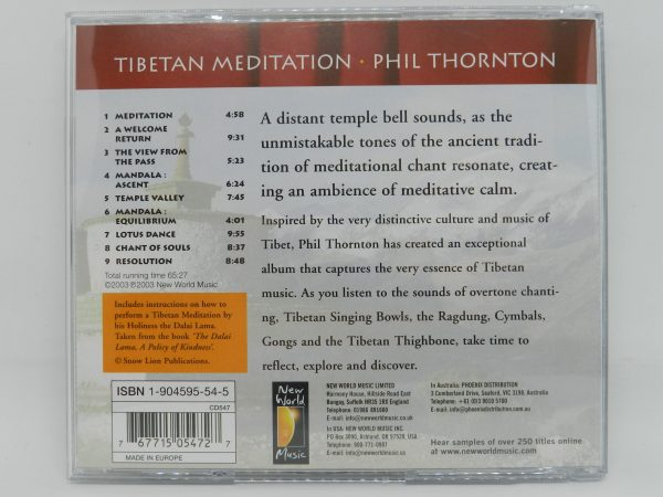 Tibetan Meditation CD by Phil Thornton rear cover