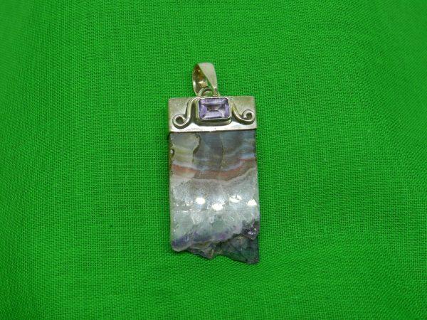 burnt amethyst crystal pendant