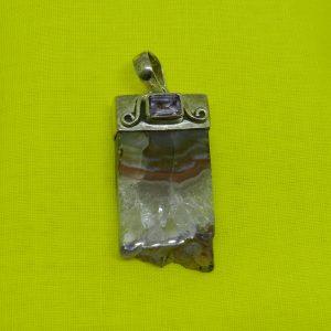 crystal burnt amethyst pendant