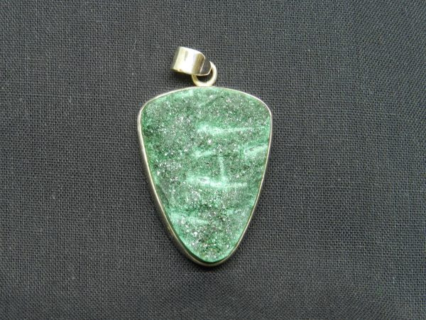 malachite druzy pendant
