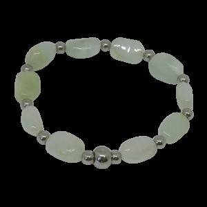 prehnite bracelet metal beads