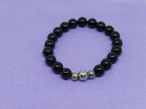 Black Tourmaline 3 Silver Beads Bracelet