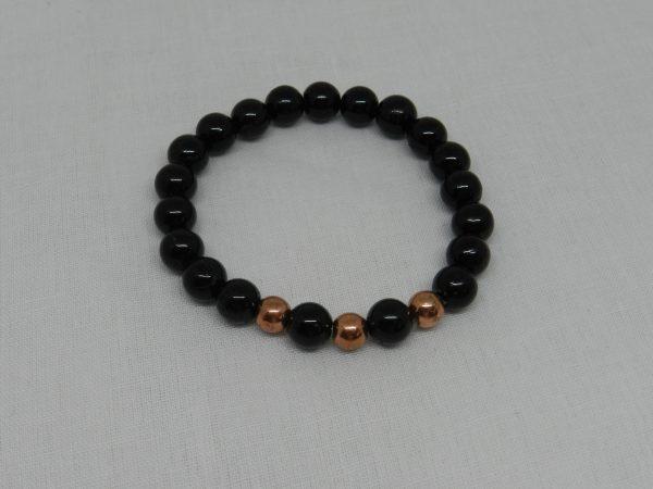 Black Tourmaline with Brass Bead Bracelet