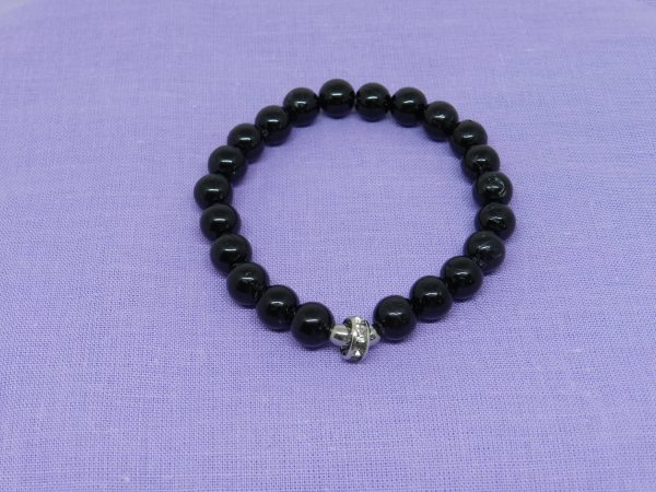 Black Tourmaline with Crystal Charm Bracelet