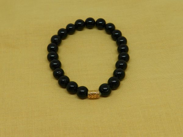 Black Tourmaline with Gold Charm Bracelet