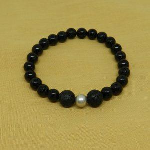 Black Tourmaline with Lava Beads Bracelet