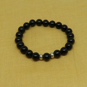 Black Tourmaline with Silver Beads Bracelet