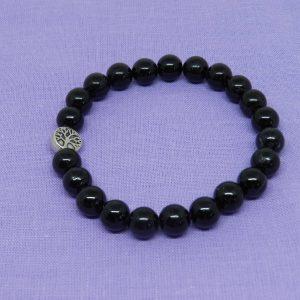 Black Tourmaline with Tree Charm Bracelet
