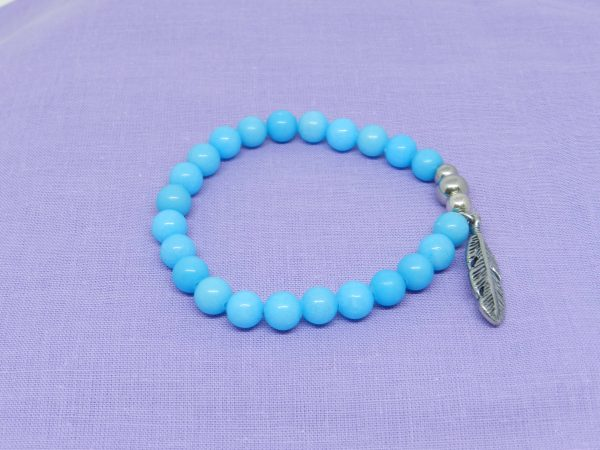 Blue Jade with feather charm bracelet