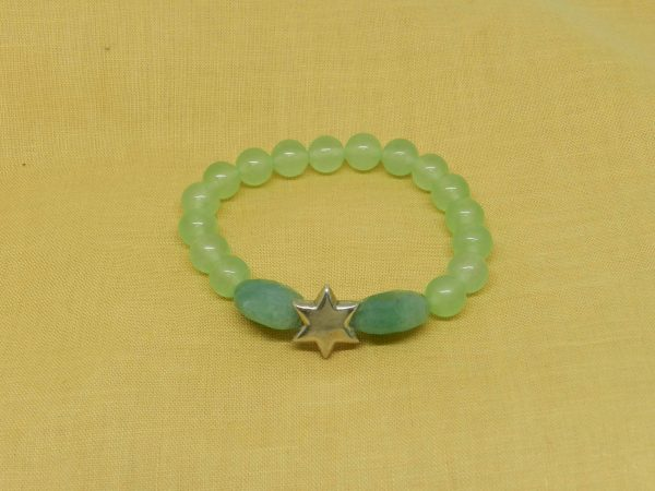 Green Jade with faceted beads bracelet