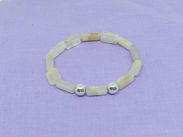 Moonstone with silver beads bracelet