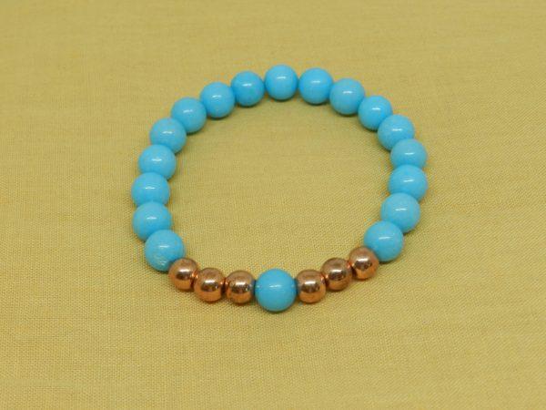 blue jade brass beads bracelet