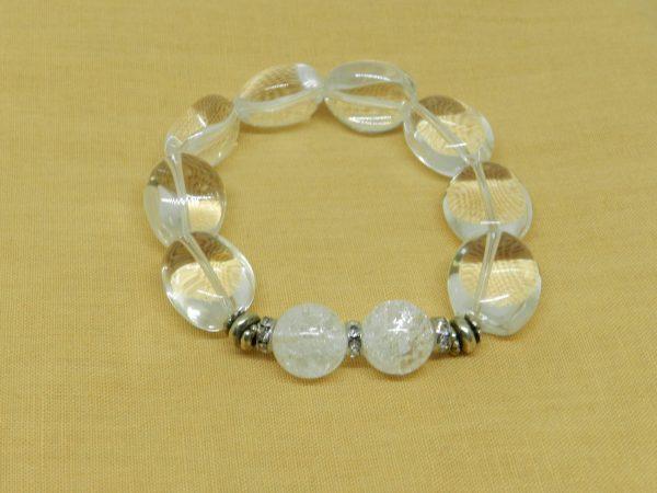 Fire Ice Quartz & Clear Quartz Bracelet