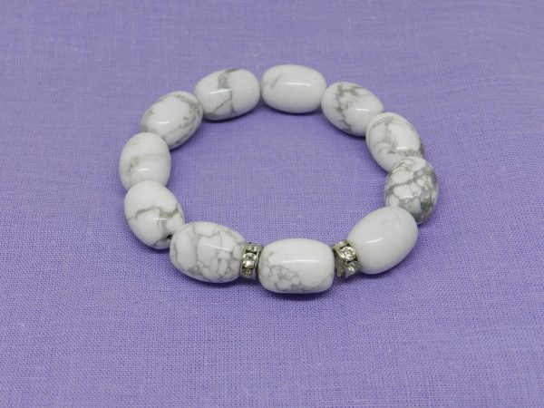 Howlite with diamante crystal band bracelet
