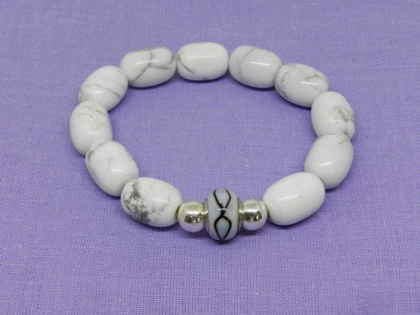 Howlite with silver beaded charm bracelet