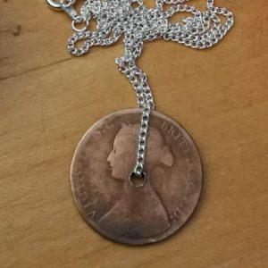 1862 half penny coin pendant