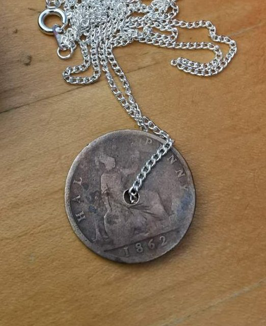 1862 Half Penny Coin Pendant & Chain