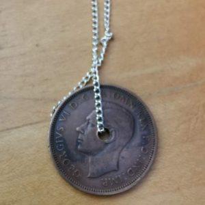 1940 half penny coin pendant