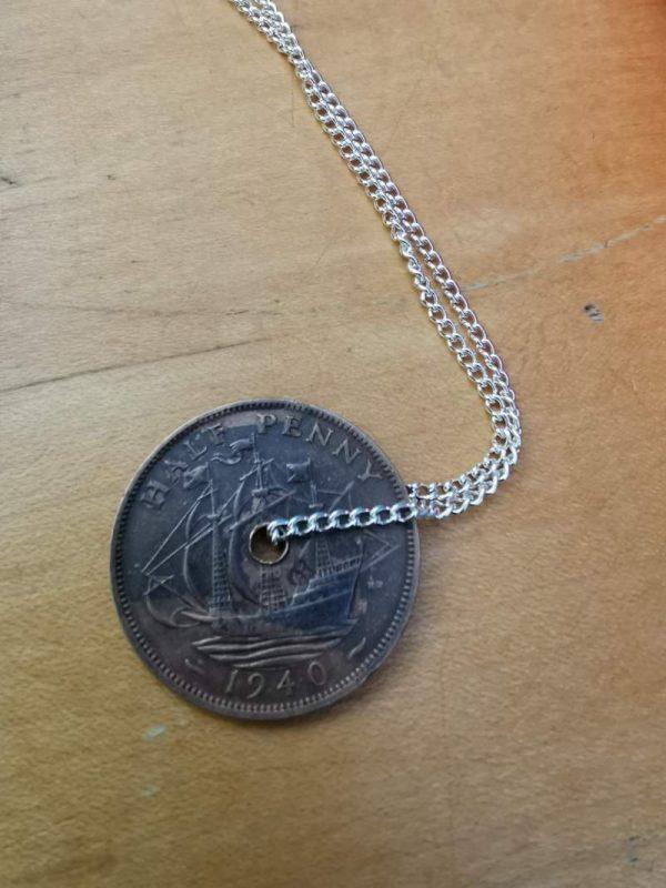 1940 half penny coin