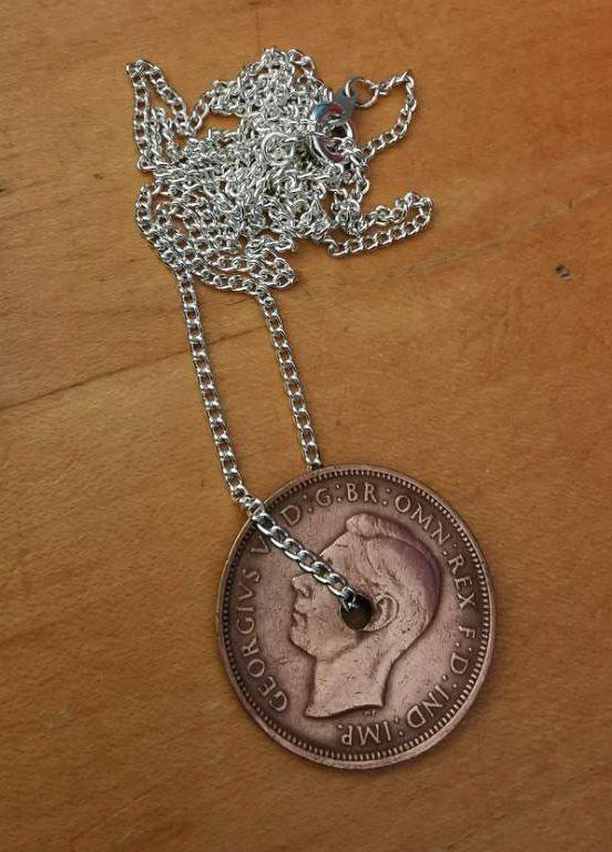 1942 half penny coin pendant