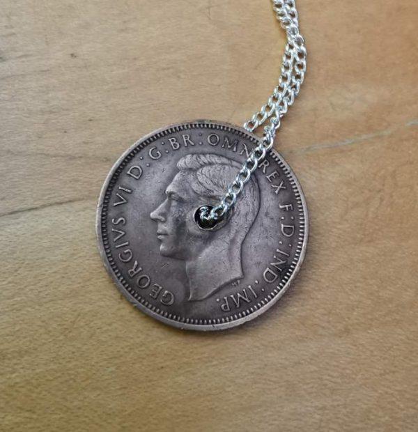 1944 half penny coin pendant