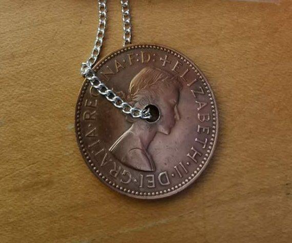 1959 half penny coin pendant