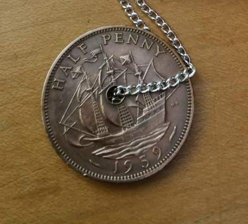1959 half penny coin pendant reverse