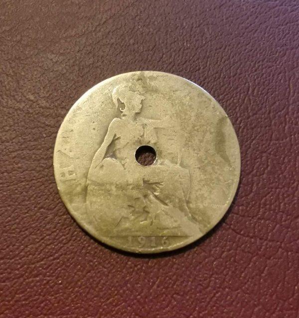 1916 half penny coin pendant