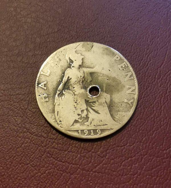 1919 half penny coin pendant