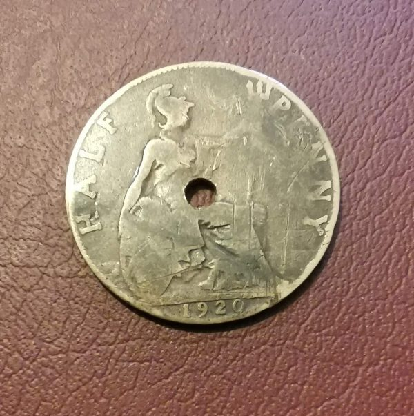 1920 half penny coin pendant