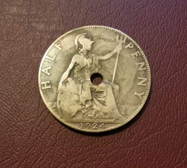 1924 half penny coin pendant