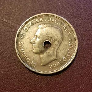 1943 half penny coin pendant