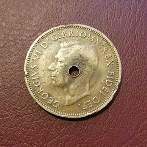 1950 half penny coin