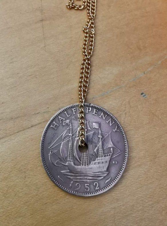 1952 half penny coin pendant