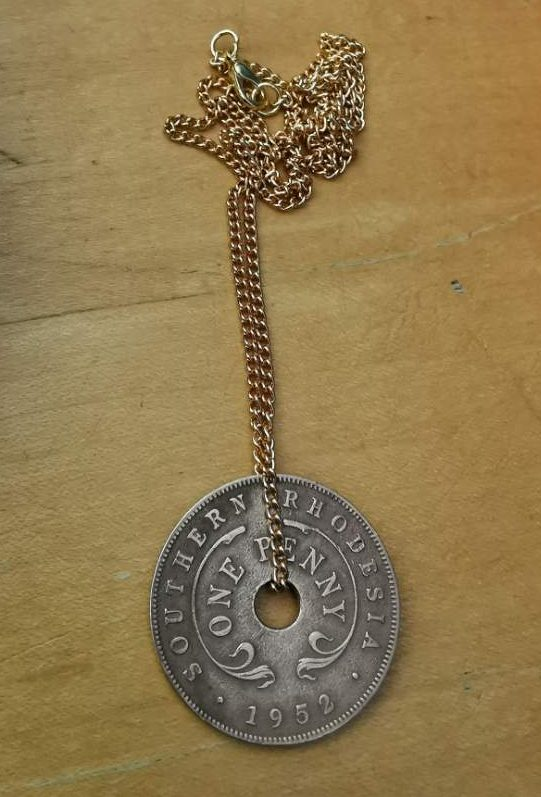 1952 one penny Southern Rhodesia coin pendant