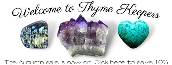 Welcome banner for Thyme Keepers crystals webshop